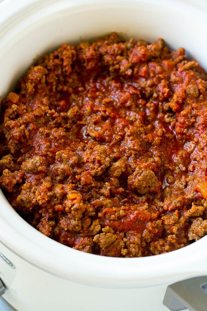 A slow cooker full of sloppy joe meat.