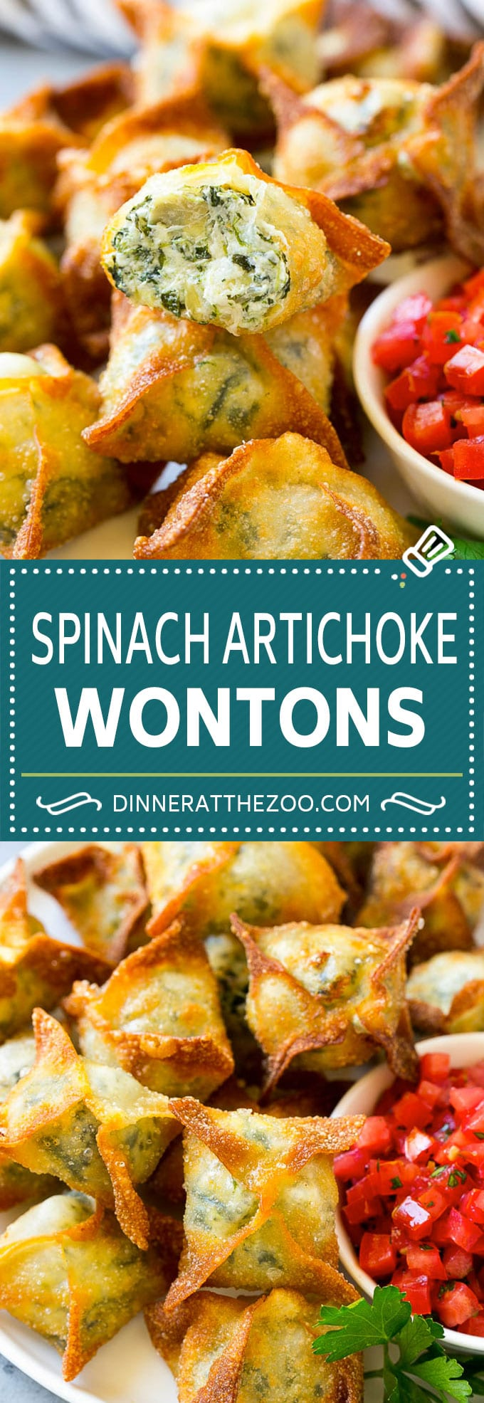 Spinach Artichoke Wontons Recipe | Fried Wontons | Wonton Appetizer #wontons #appetizer #snack #artichoke #spinach #dinneratthezoo