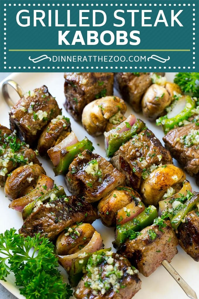 Steak Kabobs Recipe | Beef Kabobs | Grilled Steak | Steak Skewers #beef #steak #kabobs #grilling #garlic #mushrooms #dinneratthezoo