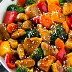 Teriyaki pork stir fry with pork tenderloin and colorful vegetables in a homemade sauce.