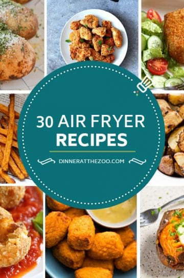 Air fryer recipes including chicken, french fries, pork chops, potatoes and desserts.