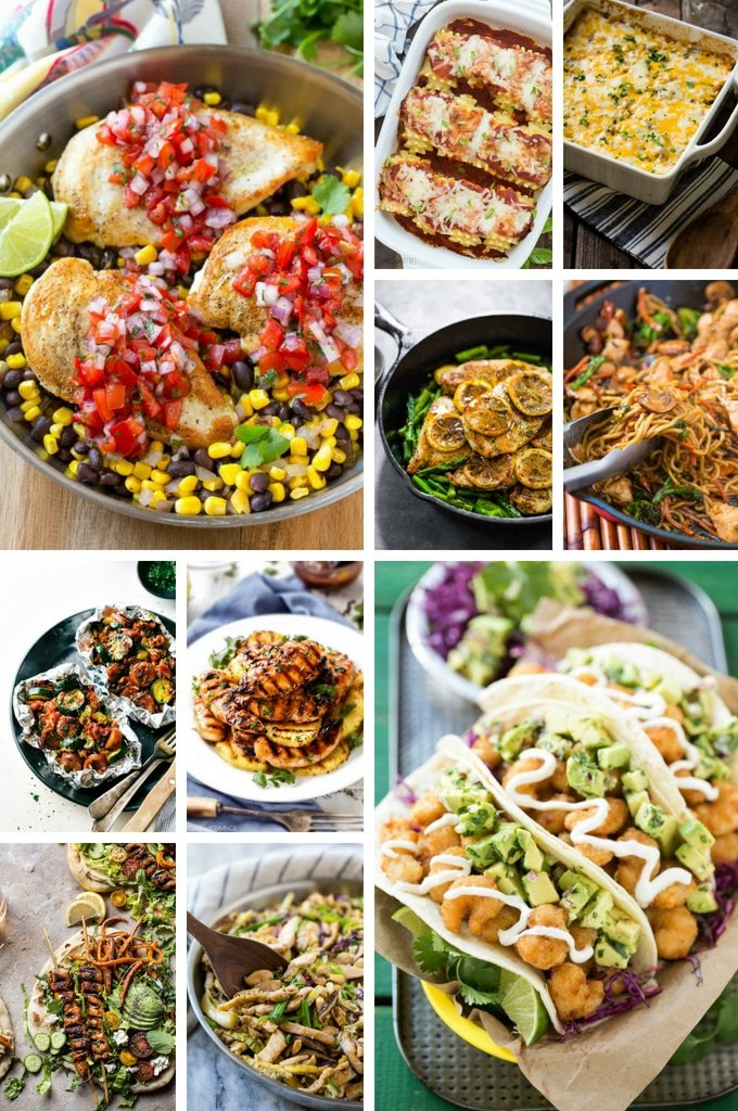 A collage of dinner recipes for back to school time including Asian food, tacos, foil packet meals and lasagna.