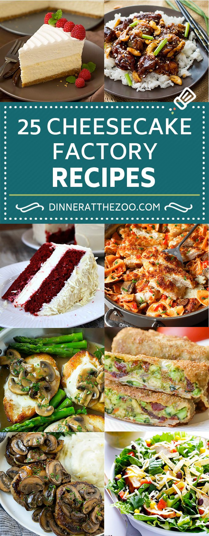 25 Cheesecake Factory Recipes | Cheesecake Factory Copycat Recipes | Restaurant Copycat Recipes #cheesecake #dinneratthezoo #dinner #pasta #chicken