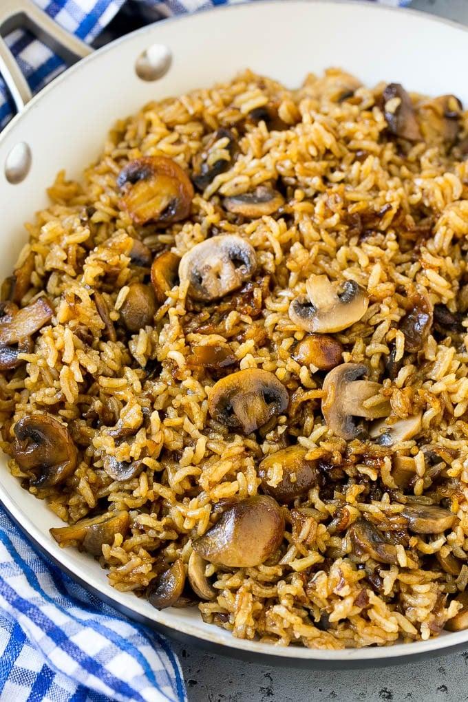 Mushroom rice in a skillet.