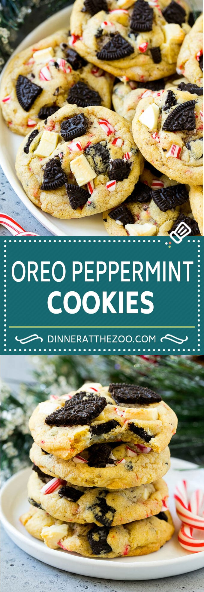 Oreo Peppermint Cookies Recipe | Candy Cane Cookies | Oreo Cookies #oreo #peppermint #cookies #baking #Christmas #sweets #dinneratthezoo
