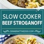 Slow Cooker Beef Stroganoff Recipe   Crock Pot Beef Stroganoff   Beef Recipe #slowcooker #crockpot #beef #mushrooms #pasta #dinner #dinneratthezoo