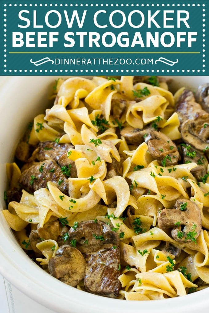 Slow Cooker Beef Stroganoff Recipe | Crock Pot Beef Stroganoff | Beef Recipe #slowcooker #crockpot #beef #mushrooms #pasta #dinner #dinneratthezoo