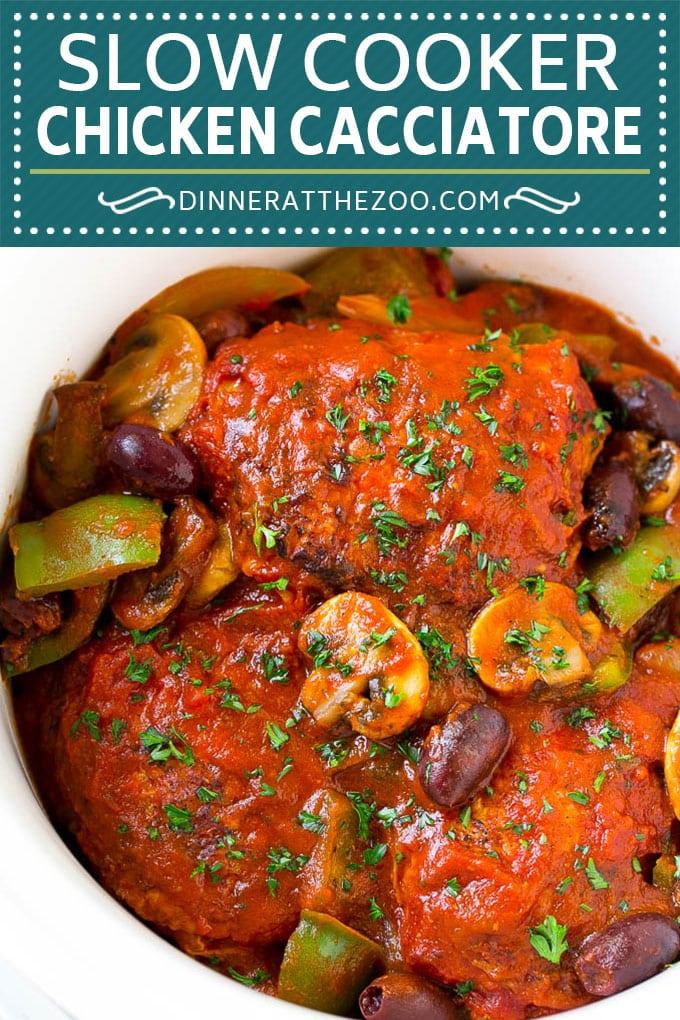 Slow Cooker Chicken Cacciatore Recipe | Crock Pot Chicken Cacciatore | Italian Chicken #italianfood #chicken #slowcooker #crockpot #dinner #dinneratthezoo