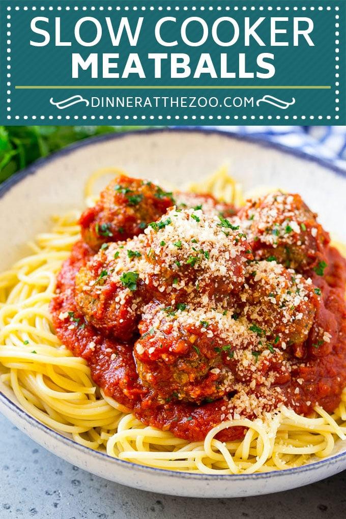 Slow Cooker Meatballs Recipe | Crock Pot Meatballs | Italian Meatballs | Spaghetti and Meatballs #meatballs #slowcooker #crockpot #dinner #dinneratthezoo #italian