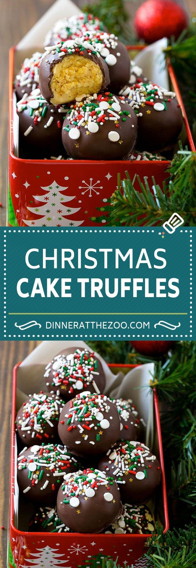 Christmas Cake Truffles Recipe | Cake Truffles | Cake Balls | Cake Bites #cake #christmas #sprinkles #baking #dinneratthezoo