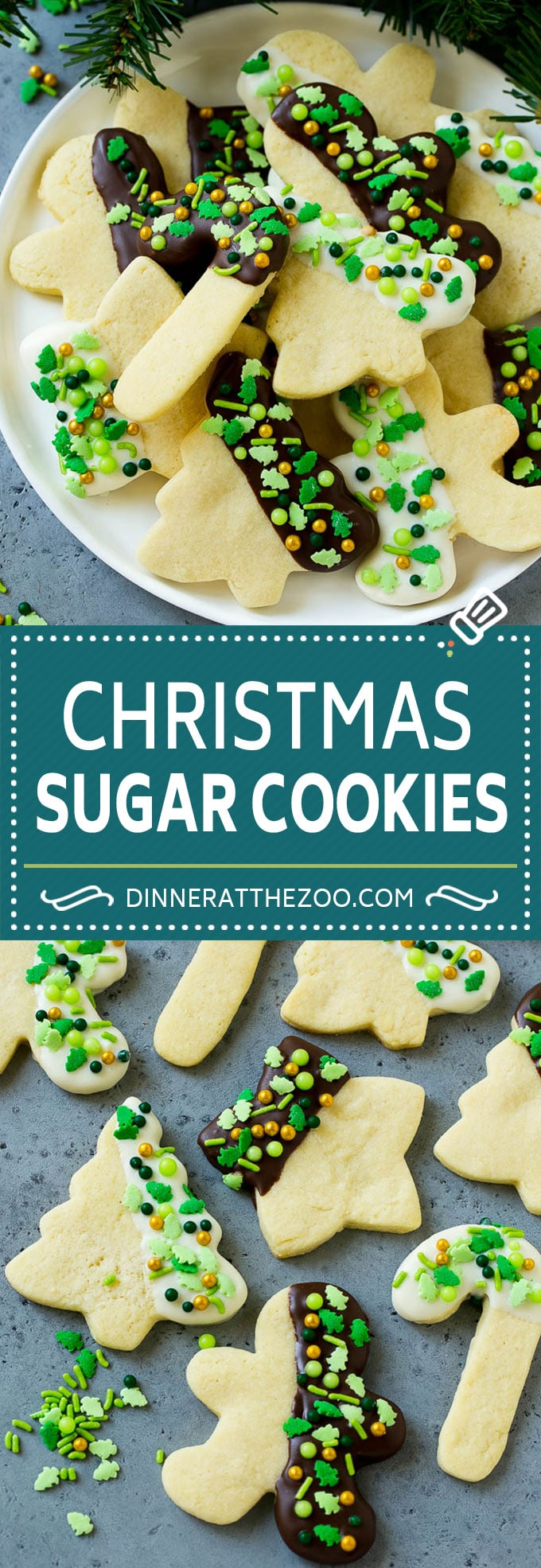 Christmas Sugar Cookies Recipe | Cut Out Cookies Recipe | Sprinkle Cookies | Chocolate Dipped Cookies #cookies #Christmas #chocolate #sprinkles #baking #dessert #dinneratthezoo