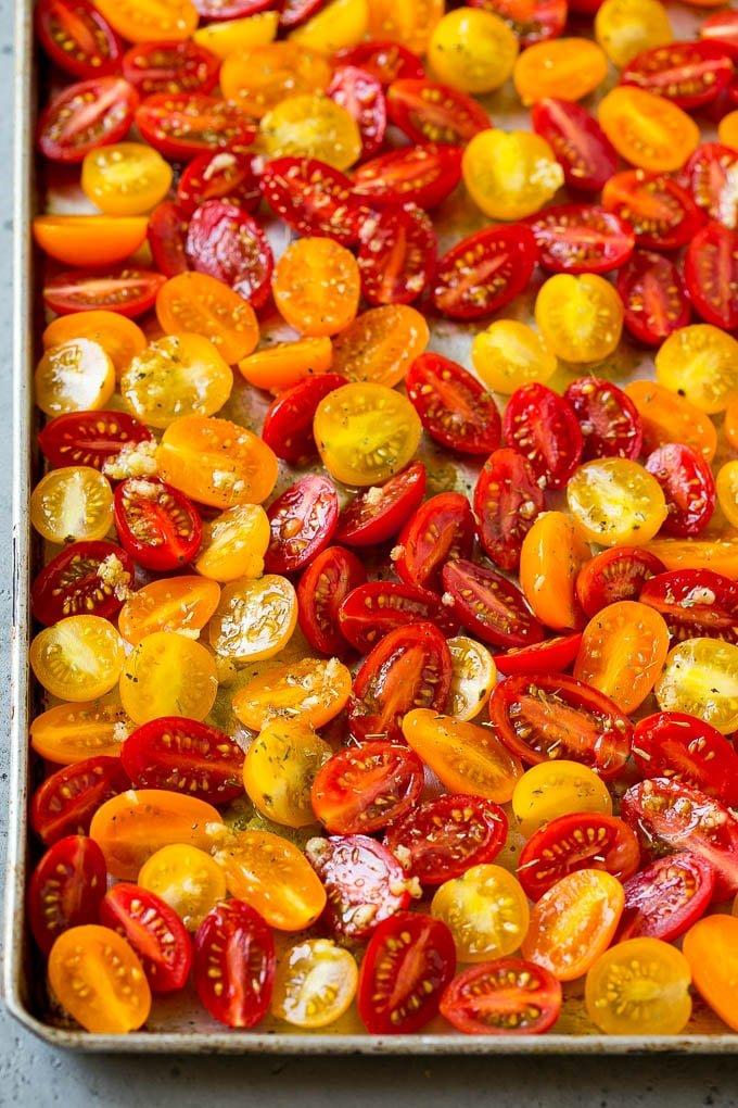 Cherry tomatoes coated in garlic, olive oil and herbs.