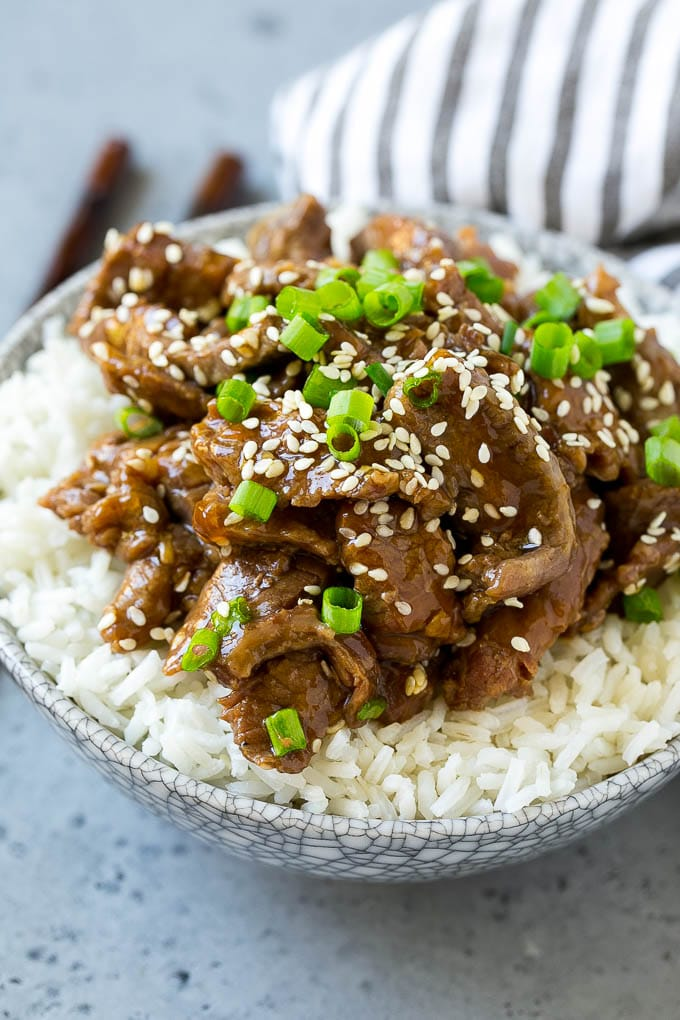 Slow cooker Korean beef served over steamed rice.