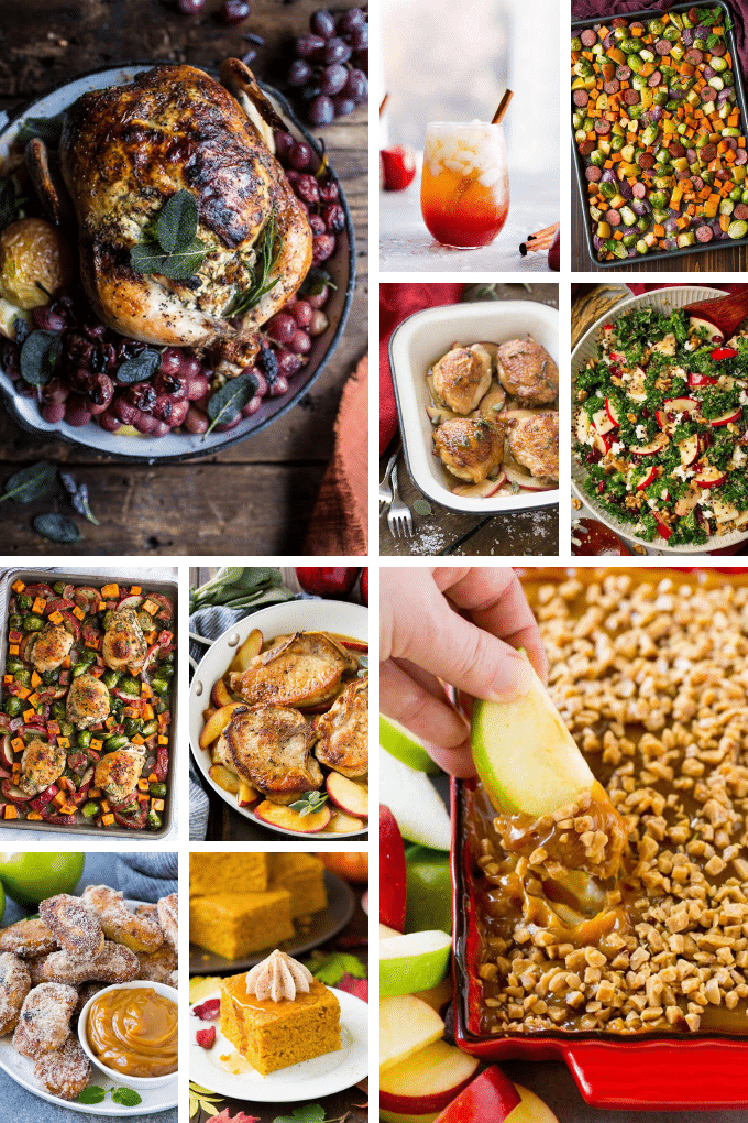 Fall recipes such as roasted chicken, pork chops and apple desserts.
