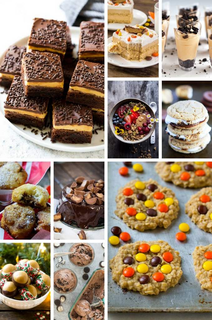 A collection of peanut butter recipes such as buckeye balls, cheesecakes and brownies.