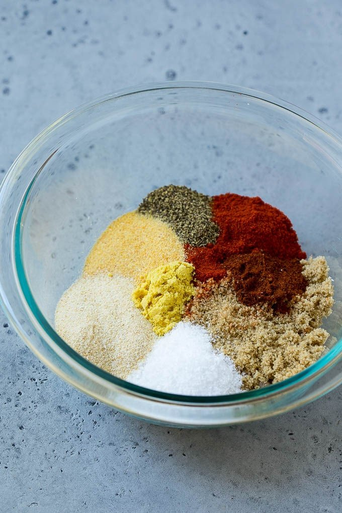 A blend of brown sugar and spices to make BBQ rub.