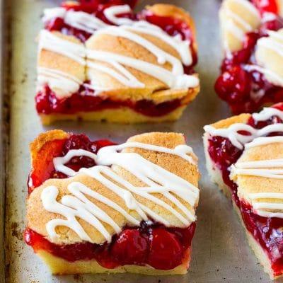 Cherry Bars with Vanilla Glaze
