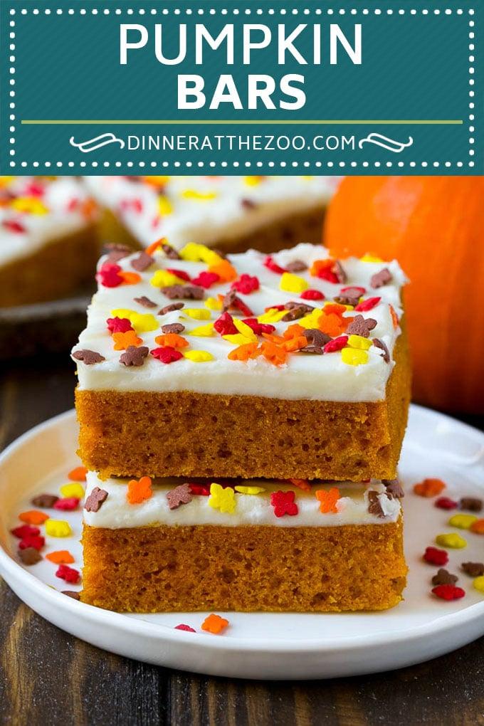 Pumpkin Bars Recipe | Pumpkin Cake | Pumpkin Dessert #pumpkin #fall #dessert #dinneratthezoo #thanksgiving