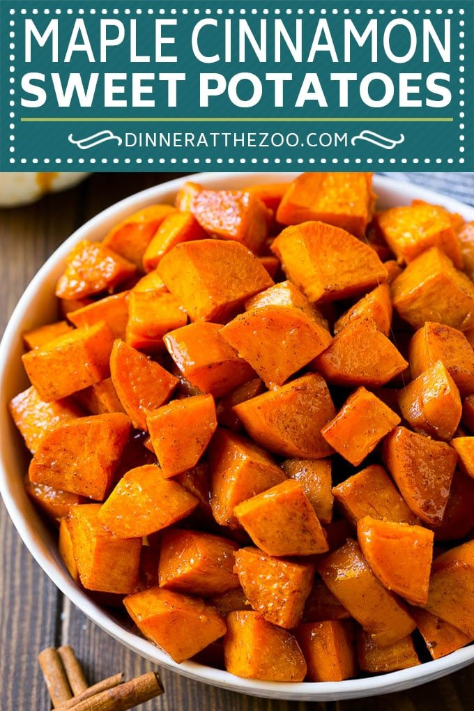 Maple Roasted Sweet Potatoes Recipe | Easy Sweet Potatoes | Baked Sweet Potatoes | Sweet Potato Side Dish #sweetpotatoes #cinnamon #maple #butter #fall #sidedish #dinner #dinneratthezoo