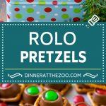 Rolo Pretzels Recipe   Chocolate Pretzels   Caramel Pretzels   Holiday Candy #christmas #baking #dessert #candy #chocolate #caramel #pretzels #dinneratthezoo