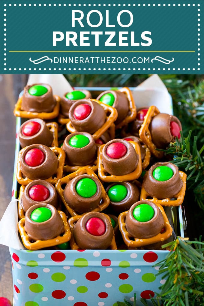 Rolo Pretzels Recipe | Chocolate Pretzels | Caramel Pretzels | Holiday Candy #christmas #baking #dessert #candy #chocolate #caramel #pretzels #dinneratthezoo