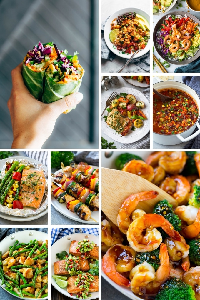 Healthy recipes including burrito bowls, chicken dishes and salmon entrees.