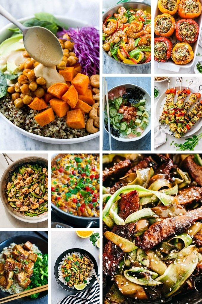Healthy recipes such as sushi bowls, chicken kabobs, tofu and zucchini noodles.