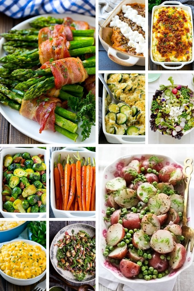 Easter side dishes such as asparagus, casseroles and carrots.