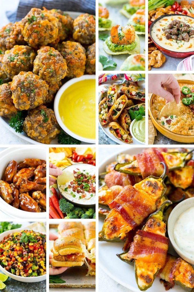 Super bowl recipes that include shrimp, sausage balls and jalapeno poppers.
