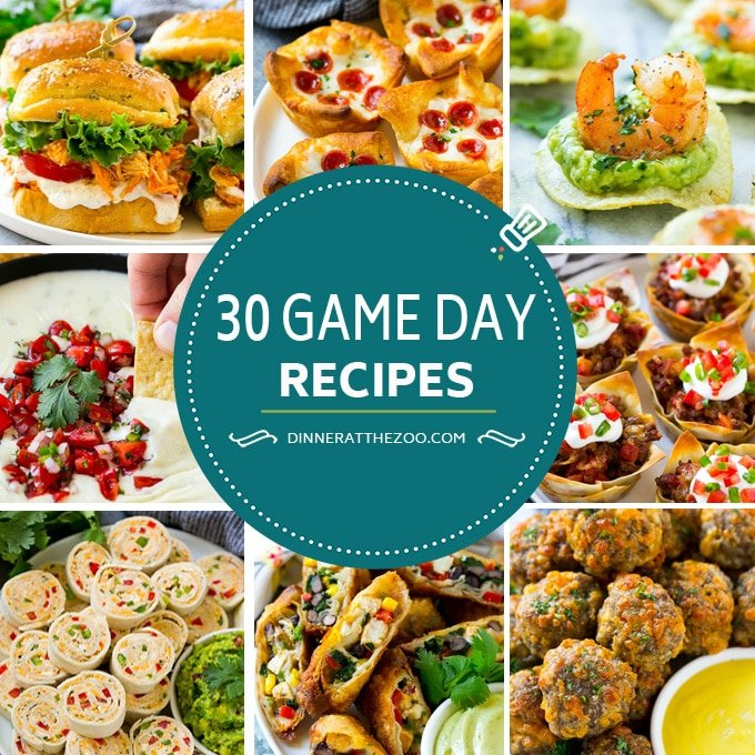 Game day recipes including hot and cold appetizers that are perfect for the Super Bowl.