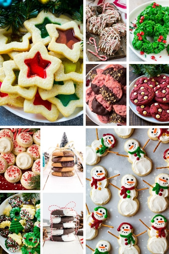 A selection of cookie recipes including spritz cookies and candy cane cookies.