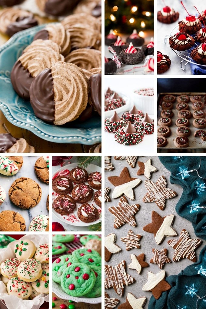 Cookie recipes such as chocolate kiss cookies, cherry cookies and meringue cookies.