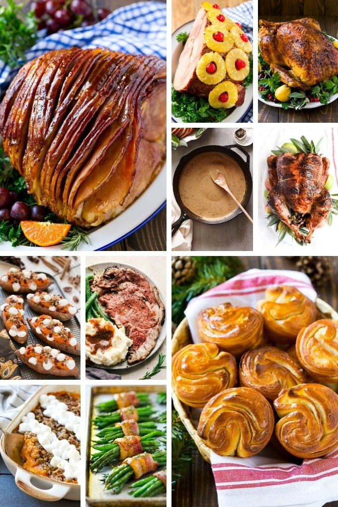 An assortment of holiday recipes including ham, turkey and sweet potato casserole.