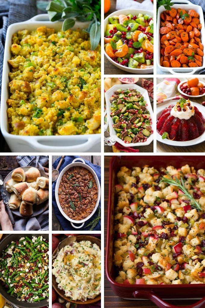 Holiday recipes such as fruit salad, cornbread dressing and rolls.