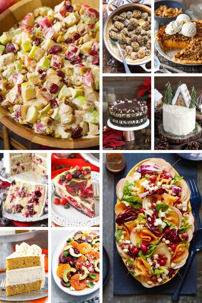 Holiday recipes that include cheesecake, salads and pies.