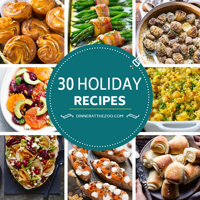 A photo grid of recipes that are great for the holidays.