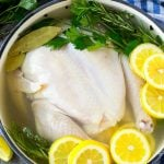 Chicken brine in a pot with a whole chicken, lemons, herbs and spices.