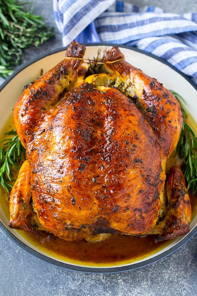 A brined roasted whole chicken.