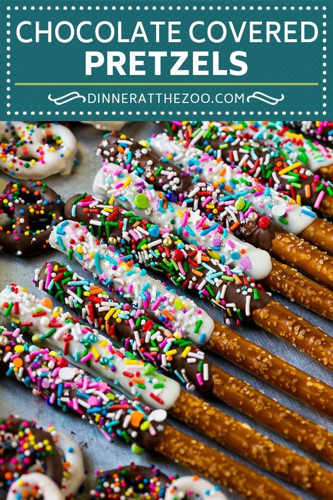 Chocolate Covered Pretzels Recipe | Sprinkle Pretzels | No Bake Dessert #pretzels #chocolate #sprinkles #candy #dinneratthezoo
