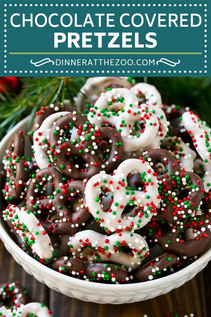 Chocolate Covered Pretzels Recipe | Sprinkle Pretzels | No Bake Dessert #pretzels #chocolate #christmas #sprinkles #candy #dinneratthezoo