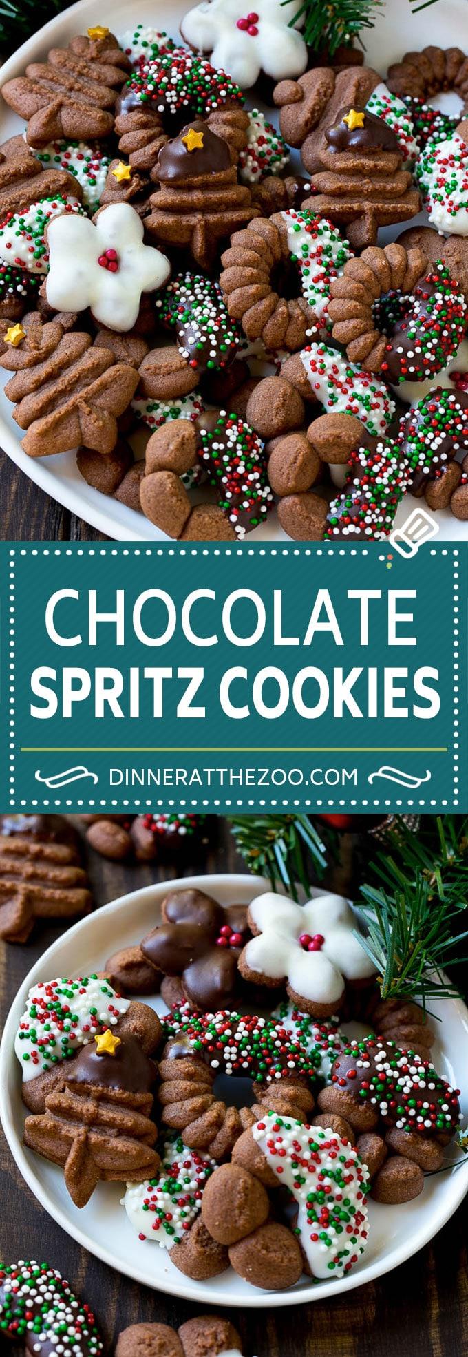 Chocolate Spritz Cookies | Christmas Cookies | Spritz Cookies #christmas #cookies #chocolate #sprinkles #baking #dessert #dinneratthezoo