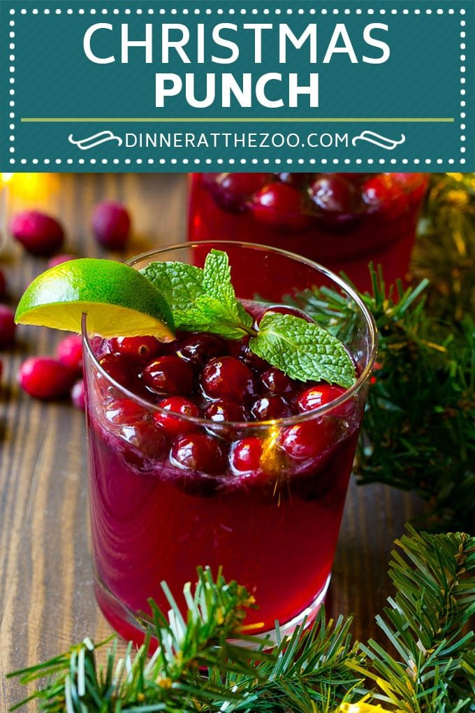 Christmas Punch | Holiday Punch | Cranberry Punch #punch #drink #christmas #dinneratthezoo #cranberry #pomegranate