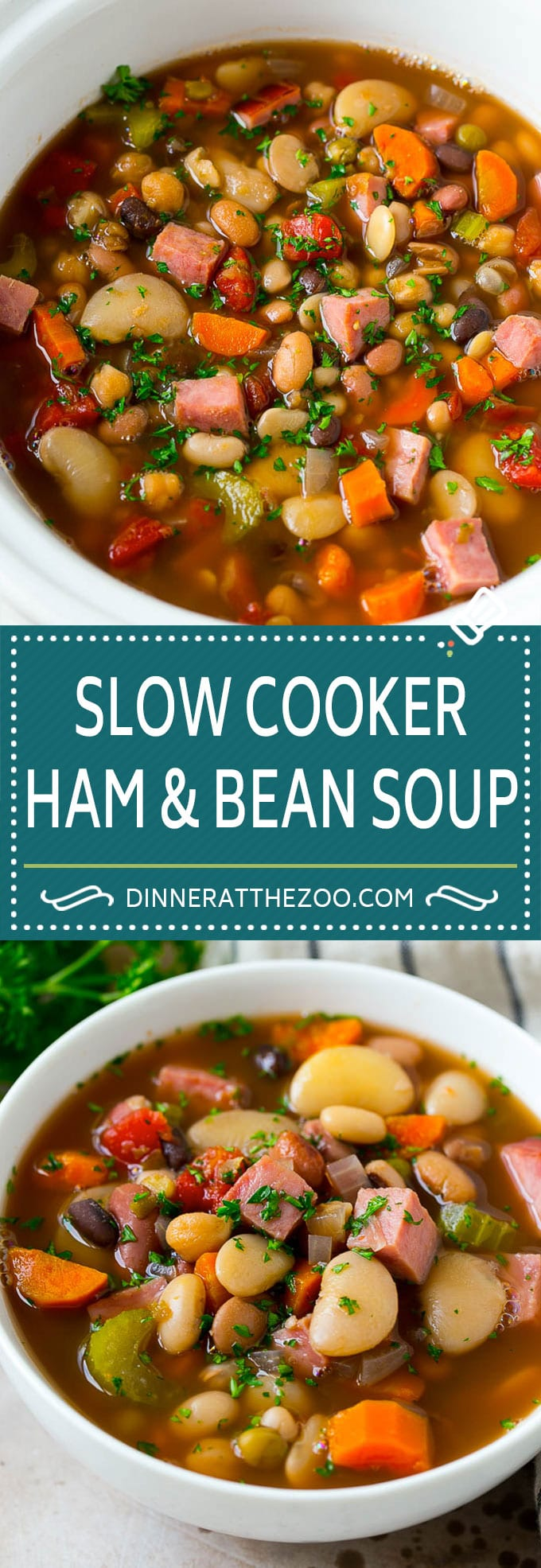 Ham and Bean Soup Recipe | Slow Cooker Ham and Bean Soup | Crockpot Ham and Bean Soup | Leftover Ham Recipe #ham #beans #soup #slowcooker #crockpot #dinner #dinneratthezoo