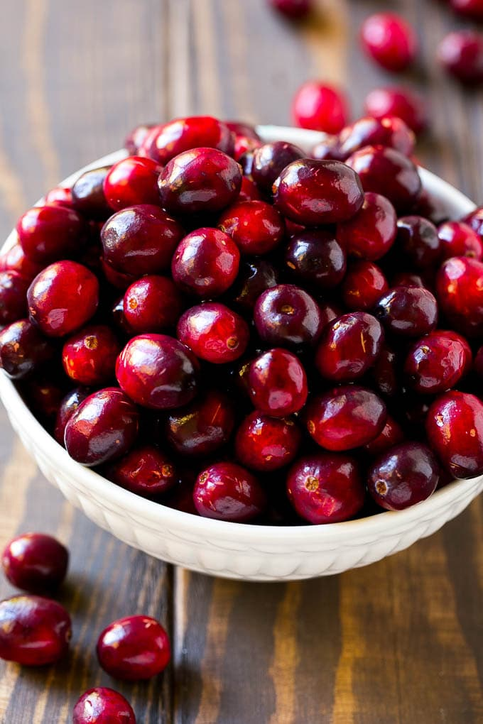 Fresh cranberries in a bowl.