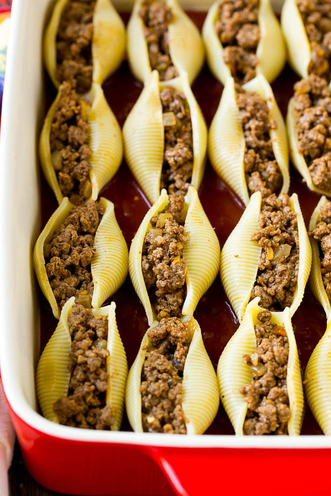Jumbo shell pasta stuffed with Mexican beef.