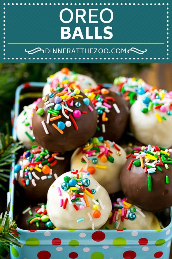 Oreo Balls Recipe | Oreo Truffles | Homemade Candy #truffles #candy #oreos #chocolate #sprinkles #dessert #christmas #dinneratthezoo