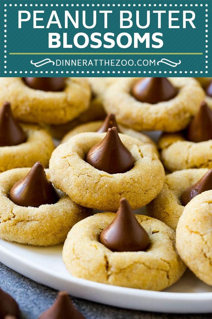 Peanut Butter Blossoms Recipe | Hershey Kiss Cookies | Chocolate Peanut Butter Cookies #cookies #peanutbutter #chocolate #dessert #baking #christmas #christmascookies #dinneratthezoo