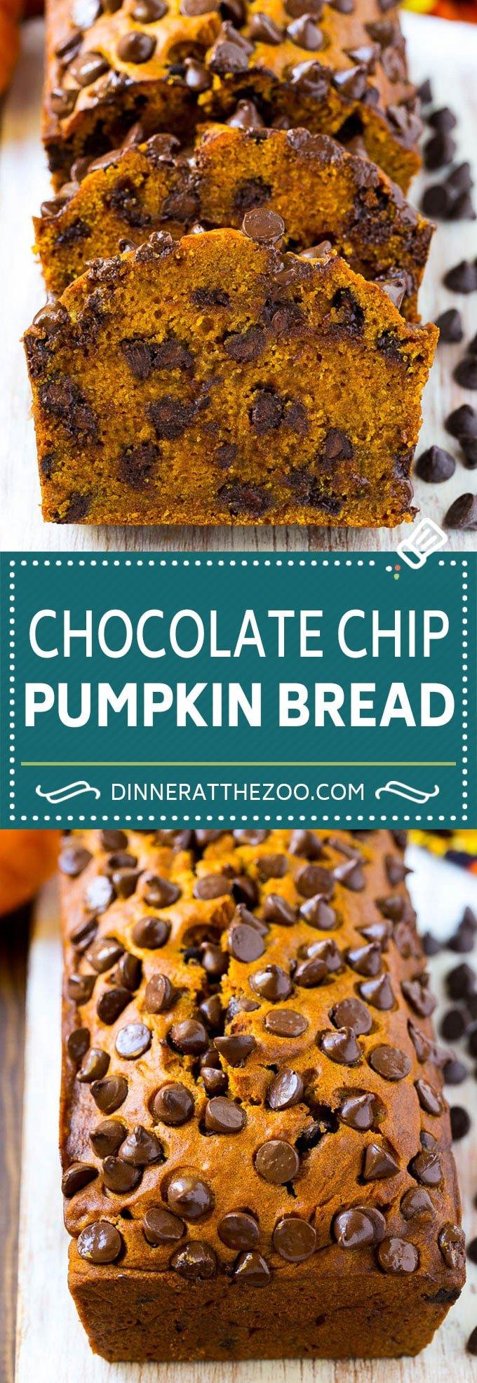 Pumpkin Chocolate Chip Bread Recipe | Pumpkin Bread | Chocolate Pumpkin Bread #pumpkin #bread #fall #chocolate #baking #dessert #dinneratthezoo