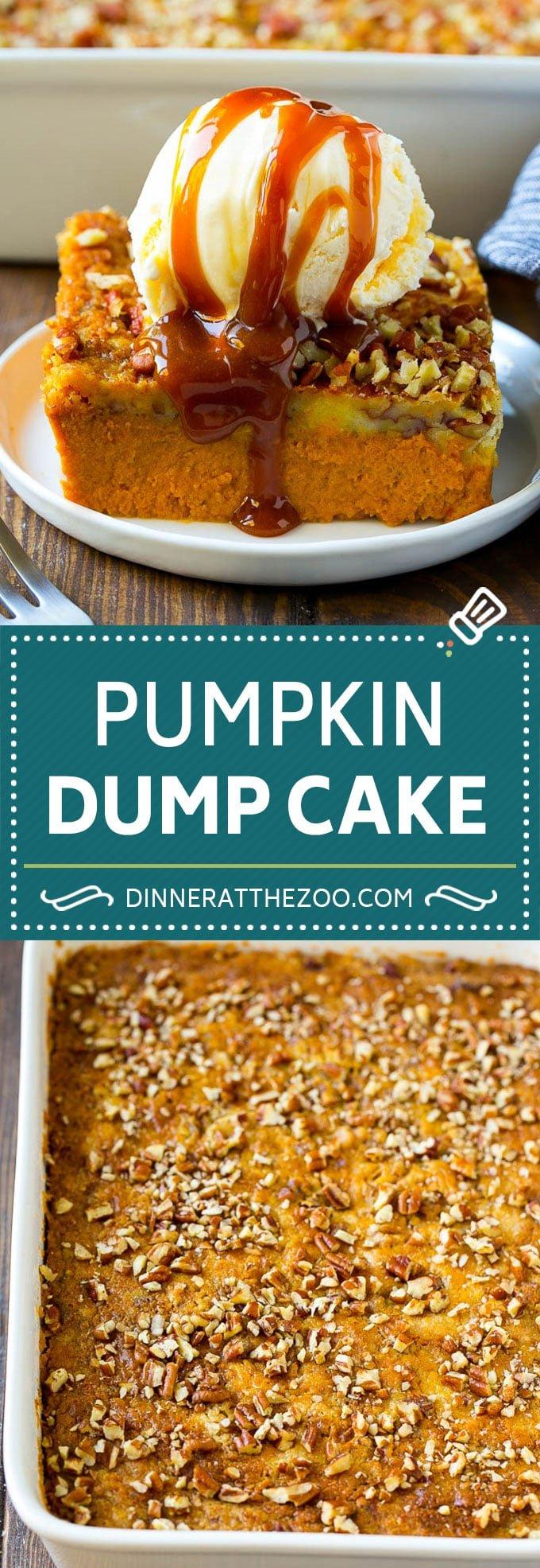 Pumpkin Dump Cake Recipe | Pumpkin Cake | Pumpkin Pie Cake #pumpkin #cake #pecans #fall #thanksgiving #dessert #dinneratthezoo