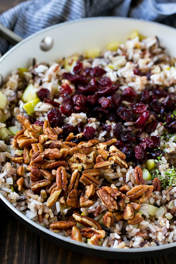 Apples and wild rice topped with dried cranberries, pecans and herbs.